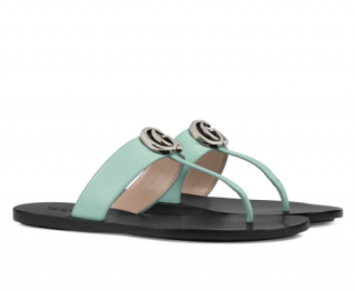 Gucci Leather thong sandal with Double G - Mint Green