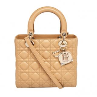 Christian Dior Beige Cannage Quilted Leather Medium Lady Dior Bag