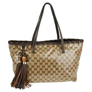 Gucci Supreme Coated Canvas Crystal Tote Bag