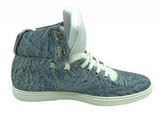 Jimmy Choo Mens Marbled Blue High Top Sneakers