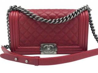 Chanel Red Caviar Leather Boy Bag