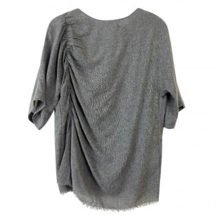 Bimba Y Lola Grey Ruched Oversize Top