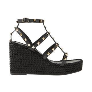 Valentino Garavani Rockstud Leather Wedge Sandals