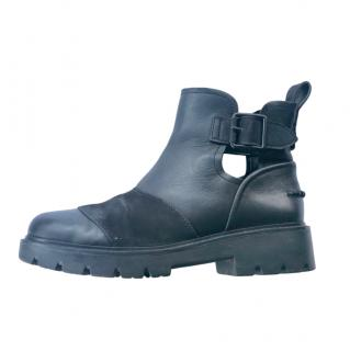 Ugg Black Leather Buckle Detail Ankle Boots