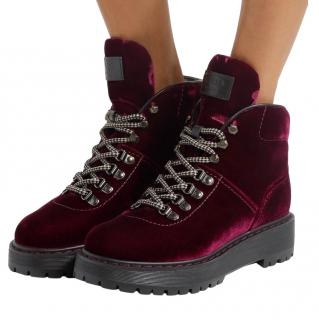Prada Burgundy Velvet Lace-Up Boots
