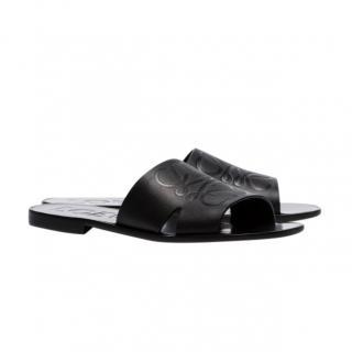 Loewe Black Embossed Anagram Leather Slides