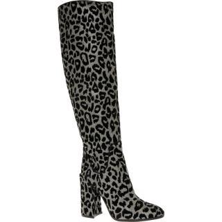 Dolce & Gabbana Flocked Leopard Print Knee Boots