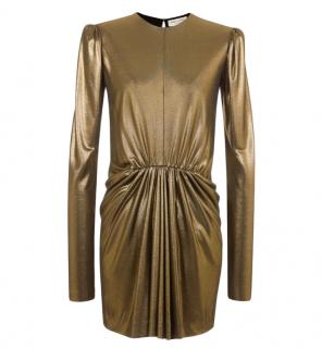 Saint Laurent Gold Gathered Mini Dress