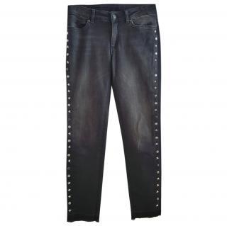 Escada Black Denim Star Studded Jeans