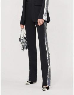 David Koma Sequin Side-Stripe Crepe Pants