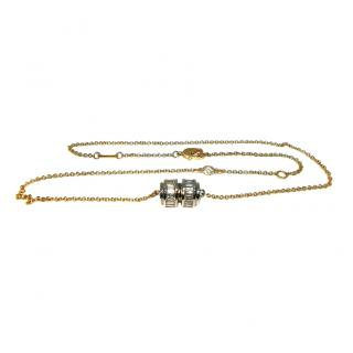 Magerit White & Yellow Gold Diamond Barrel pendant Necklace
