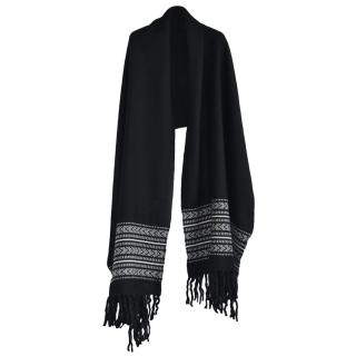 Saint Laurent XL Wool Blend Embroidered Scarf