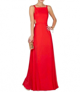 BCBG Max Azria Red Open Back Gown