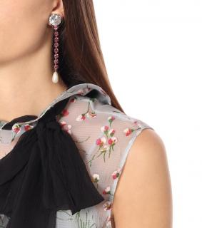 Miu Miu Pink Crystal Faux Pearl Drop Earrings