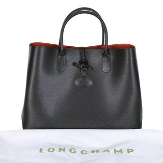 Longchamp Black Leather Large Roseau Tote Bag