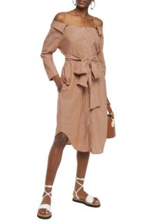 Maje Cold-shoulder belted striped woven dress