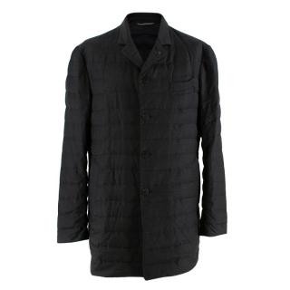 Canali Charcoal Quilted Down Long Jacket