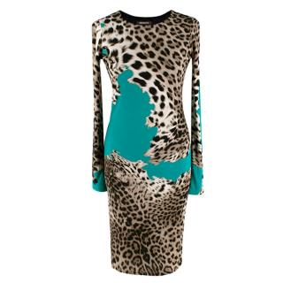 Roberto Cavalli Animal Print/Green Stretch Dress