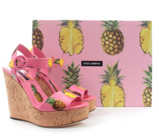 Dolce & Gabbana Pink Pineapple Print Wedge Sandals