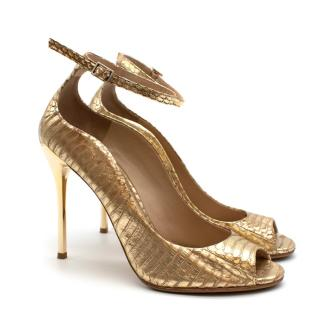 Brian Atwood Gold Snakeskin Embossed Open Toe Sandals