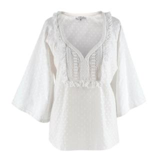 Andrew GN White Embroidered Peasant Top