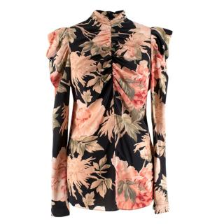 Zimmermann Espionage ruched floral-print stretch-silk blouse