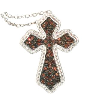 Bespoke Glitter Rhodium Cross Pendant Necklace
