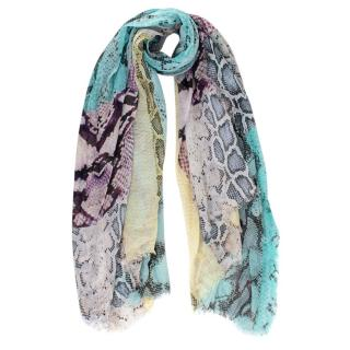 Roberto Cavalli Multicolored Snakeskin Print Cotton Scarf