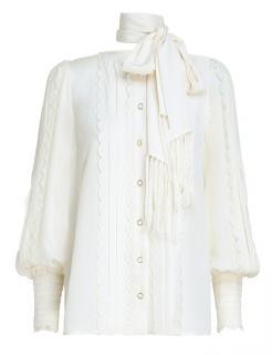 Zimmermann Ivory Wavelength Silk Scallop Shirt