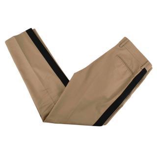 Valentino Beige Cotton Side Stripe Trousers