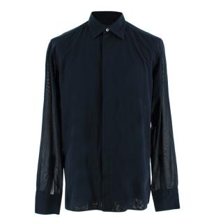 Kilgour Navy Cotton Voile Long Sleeve Shirt