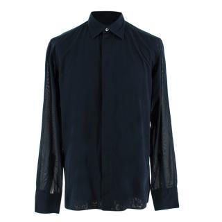 Kilgour Navy Cotton Voile Long Sleeve Shirt