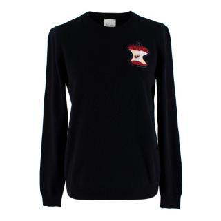 Paul Smith Black Cashmere Jumper With Embellished 'Apple'