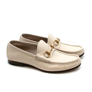 Gucci White Leather Horse Bit Loafers