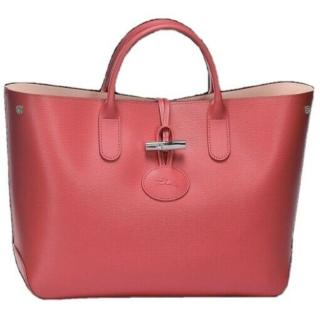 Longchamp Fig Pink Large Roseau Tote