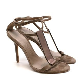 Burberry Taupe Suede T Copper Detail Strappy Sandals