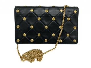 Chanel Black Studded Calfskin Vintage Wallet On Chain