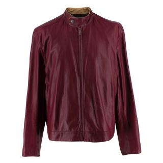Dunhill Burgundy Lightweight Leather Jacket