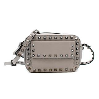 Valentino Grey Leather Rockstud Mini Shoulder Bag