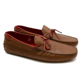 Tod's Ferrari Red & Brown Driving Shoes