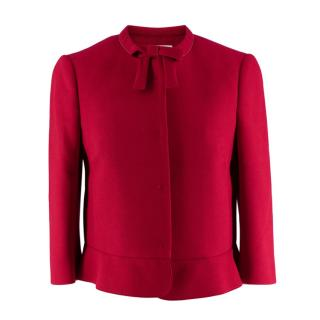 REDValentino Red Neoprene Jacket with Bow Detail