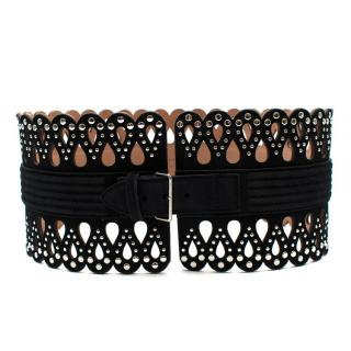 Alaia Black Laser-Cut Studded Corset Waist Belt