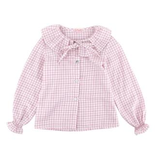 La Coqueta Pink Checked Cotton Pleated Collar Top