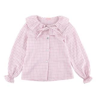 La Coqueta Pink Checked Cotton Pleated Collar Top
