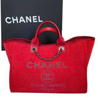 Chanel Red Boucle Wool Lurex Deauville Tote Bag