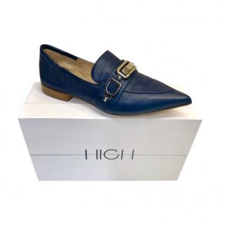 High Navy Blue Leather Loafers