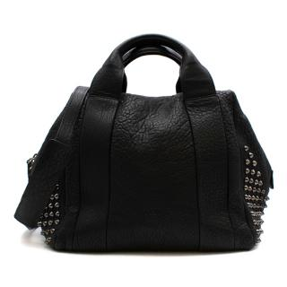 MCM Black Textured Leather Studded Top Handle Bag
