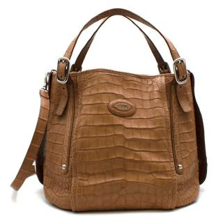 Tod's Tan Leather Crocodile Leather Shoulder Bag