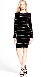 Herve Leger Black/Nude Cut-Out Elaine Mini Dress