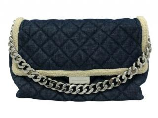 Stella McCartney Blue Shearling & Denim Beckett Bag